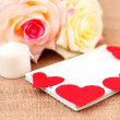 Romantic card with roses. notebook and hearts — Stock Photo #60989599