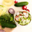 Spring salad with radishes, cucumber, cabbage and onion close-up — Stock Photo #72269623