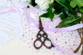 Branch lilac tape and scissors — Stock Photo