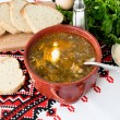 Green sorrel soup with egg in plate — Stock Photo #73562395