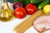 Pasta, cheese and fresh vegetables — Stock Photo