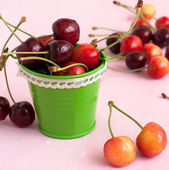Ripe cherries on the table in a bucket — Stock Photo