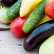 Autumn vegetables on the table - tomatoes, peppers, eggplant, zu — Stock Photo #79218168