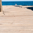 Beach scene with a wooden path leading to the sea — Stock Photo #79709124