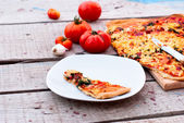 Thin pizza with tomato, grated cheese and herbs — Stock Photo