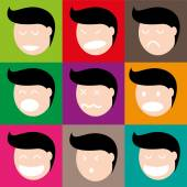 A face humana em várias emoções — Vetorial Stock