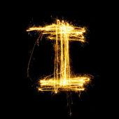 Sparkler firework light alphabet I. — Foto Stock