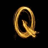 Sparkler firework light alphabet Q. — Foto de Stock
