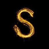 Sparkler firework light alphabet S. — Stock Photo