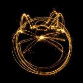 Sparkler firework light with cat shape. — Zdjęcie stockowe