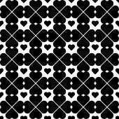 De naadloze patroon zwart-wit met stijlvolle hart. — Stockvector