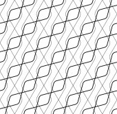 Black and white geometric seamless pattern with line, abstract b — Stock Vector
