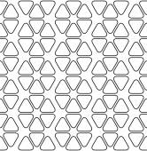 Black and white geometric seamless pattern with line and rounded triangle, abstract background. — ストックベクタ