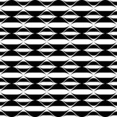 Black and white geometric seamless pattern with wavy stripe line, abstract background. — 图库矢量图片