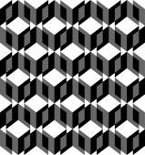 Black and white geometric seamless pattern with triangle and trapezoid, abstract background. — Stock Vector