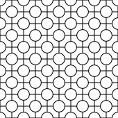 Black and white geometric seamless pattern with line and circle, abstract background. — Vettoriale Stock