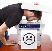 Sad smiley on scan of man face — Stockfoto