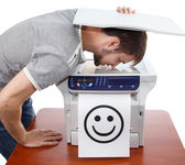Scan of male smile in copier — Stock Photo