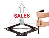 Sales up with screw jack. — Foto Stock