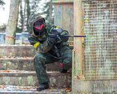 Extreme tactical military training with paintball guns — Photo