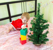 Gifted little child building tower from plastic bricks near new year fir — Stock Photo