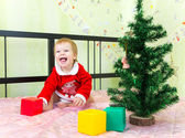 Laughing boy playing with bricks near new year fir — Stock Photo