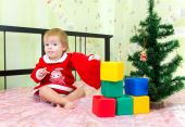 Favorite New Year presents and toys of little toddler — ストック写真