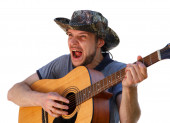 High expressive singer playing the guitar — Stock Photo