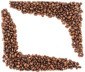Coffee beans border. coffee beans isolated on white background. roasted coffee beans, can be used as a background. — Stock Photo