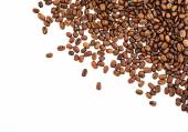Coffee beans isolated on white background. roasted coffee beans, can be used as a background. — Stock Photo