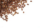 Coffee beans isolated on white background. roasted coffee beans, can be used as a background. — Foto Stock