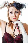 Glamorous Sexy Moulin Rouge girl wearing hot lingerie. Beuty woman in variety show style hat and sequins fashion cabaret party. — Stock Photo