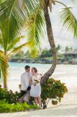 Young loving couple on tropical sea background - wedding at the beach. — Foto de Stock