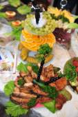 Food preparation catering at the outdoor wedding. — Stock Photo