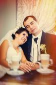 Love you honey.  Newly wed couple drinking cappuccino in cafe. — Stock Photo
