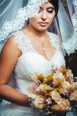 Portrait of the bride with a veil. Wedding theme. — Zdjęcie stockowe
