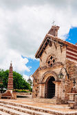St. Stanislaus Church. Ancient village Altos de Chavon - Colonial town reconstructed in Dominican Republic. Casa de Campo, La Romana, Dominican Republic. Ponderosa-style, tropical seaside resort — Stock Photo