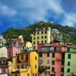 Aerial view of Vernazza - small italian town in the province of La Spezia, Liguria, northwestern Italy. — Stock Photo #71740791