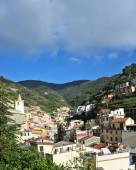 Aerial view of Vernazza - small italian town in the province of La Spezia, Liguria, northwestern Italy. — Stock Photo