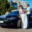 Beautiful brunette bride at white wedding with her handsome young groom in black suit stand near the car — Stock Photo #72027947