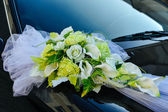 Romantic Decoration Flower on Wedding Car in Black and White — Stok fotoğraf