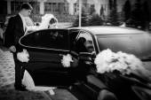 Bride and groom kissing in limousine on wedding-day. — Stock Photo