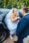 Happy groom helping his bride out of the wedding car. — Стоковое фото