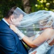 Bride And Groom Kissing Under Veil Holding Flower Bouquet In Hand. — Stock Photo #72470183