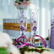 Decorated table set for wedding or another catered event dinner in luxury restaurant — Stock Photo #72636261