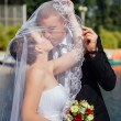 Bride And Groom Kissing Under Veil Holding Flower Bouquet In Hand — Stock Photo #72793175