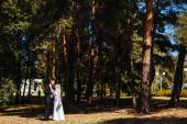 Bride and Groom at wedding Day walking Outdoors on spring nature. Bridal couple, Happy Newlywed woman and man embracing in green park. Loving wedding couple outdoor. — Stock Photo