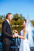 A wedding by the sea. Honeymoon. The bride and groom hugging on the shore of Lake. groom and bride hugging on a green lake. Groom and Bride in a park. wedding dress. Bridal wedding bouquet of flowers. — Stock Photo