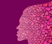 Kvinnliga chef siluett med hjärtan — Stockvektor
