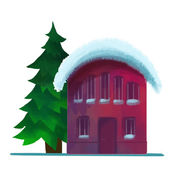 Snow-covered brick house in the winter — Stock Vector
